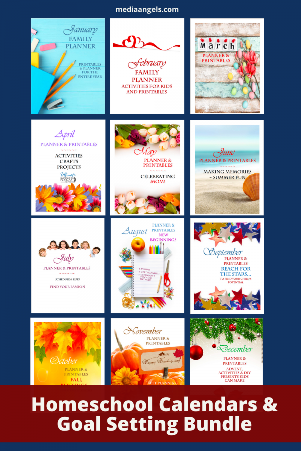 Get this fun Homeschool Calendars & Goal Setting Bundle for the entire year made for homeschoolers! Enjoy 4-square planning themed for each month, monthly and weekly planners, tips and more!