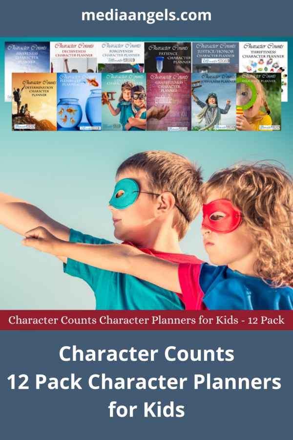 Character Counts Character Planners ~ Patience, Justice/Honor, Thriftiness, Awareness, Decisiveness, Forgiveness, Determination, Flexibility, Punctuality, Generosity, Grateful, Joy – 12 Character Planner For Kids. Open. Print. Go!