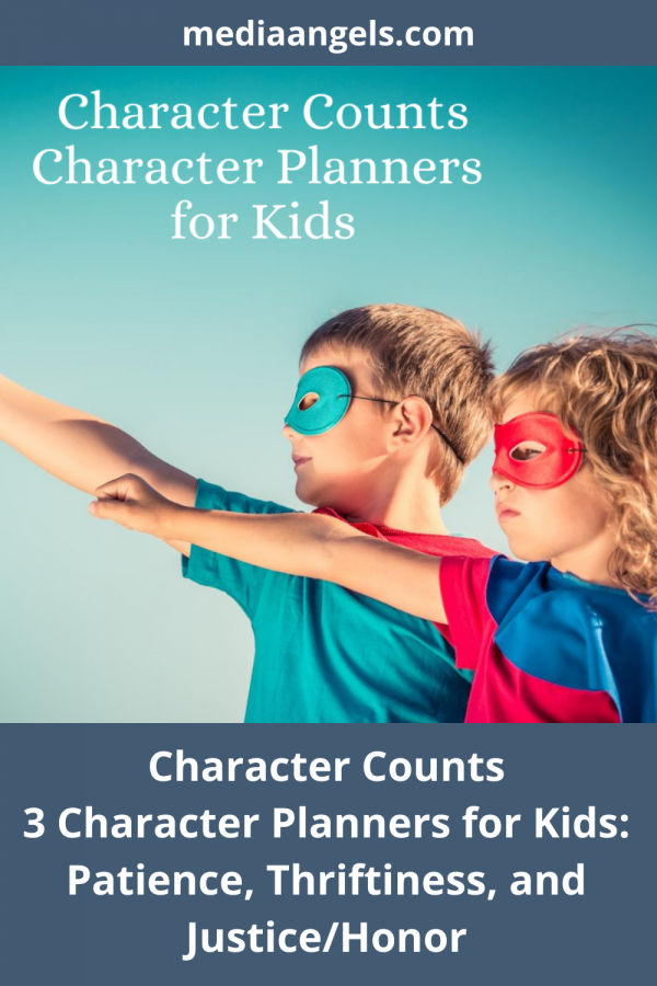 Character Counts ~ Patience, Justice/Honor, Thriftiness - Three Character Planner For Kids. Open. Print. Go! Character is important at any age - this set includes the topics of Patience, Justice/Honor, Thriftiness. Your children will enjoy the interactive activities, games and challenges within the pages. There is something for everyone in the family from the young to the old, and mom and dad can participate as well.