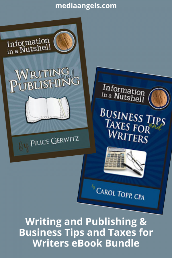 Information in a Nutshell Writing Tips - Are you passionate about your writing? Do you have an idea that may be the next best seller? Do you have a story that must be told? Do you aspire to share your experience or knowledge with others? It took me over ten years to get my first book published, not because I didn't have the desire, but because many books I read about the entire process left me feeling lost or overwhelmed. This book is easy to read and will give you a quick understanding with insider's secrets and tips. Don't wait for ten years like I did! Discover today how to turn your ideas into a published book. Learn insider's tips from successful published authors. Don't wait another day. This book will give you the tools you need to jump start your writing career. Information in a Nutshell - Business Tips and Taxes for Writers - This long awaited companion book of the Information in a Nutshell line is finally here! Authored by Carol Topp, CPA this short book packs a powerful message ~ Authors MUST know the business tips, strategies, bookkeeping and tax advice in order to keep those profits from their writing. Whether you are an author of a book, blog or magazine articles you will want to read this book from cover to cover.